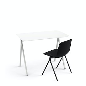 "White Key Desk, 40"" + Black Key Side Chair Set"