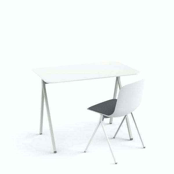 "White Key Desk, 40"" + White Key Side Chair Set,White,hi-res"