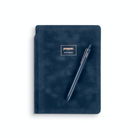 Storm Blue Velvet Sidekick Notebook + Pen
