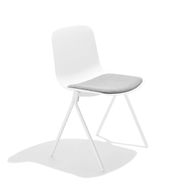 White Key Side Chair with Gray Seat Pad,White,hi-res