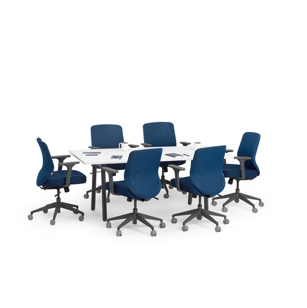 """Series A Conference Table, White, 72x30"""", Charcoal Legs,White,hi-res"""