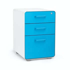 White + Pool Blue Stow 3-Drawer File Cabinet