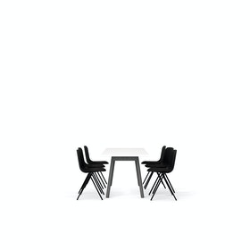 "White Series A Table 72x30"", Charcoal Legs + Black Key Side Chairs Set"