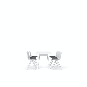 "White Series A Table 72x30"", White Legs + White Key Side Chairs Set"