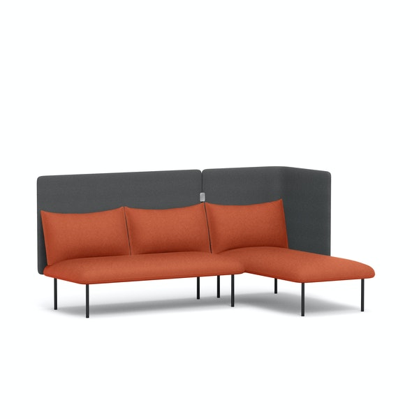 Brick + Dark Gray QT Adaptable Lounge Sofa + Right Chaise,Brick,hi-res