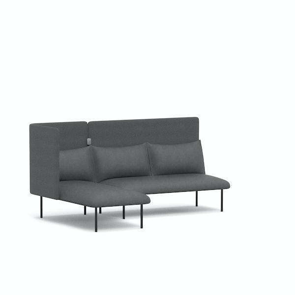 Dark Gray QT Adaptable Lounge Sofa + Left Chaise,Dark Gray,hi-res