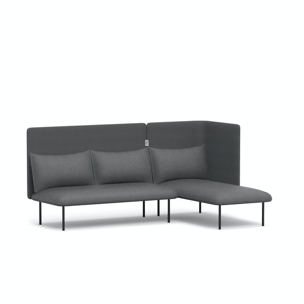 Dark Gray QT Adaptable Lounge Sofa + Right Chaise,Dark Gray,hi-res
