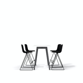 "White Series A Standing Table 57x27"", Charcoal Legs + Black Key Stools Set"