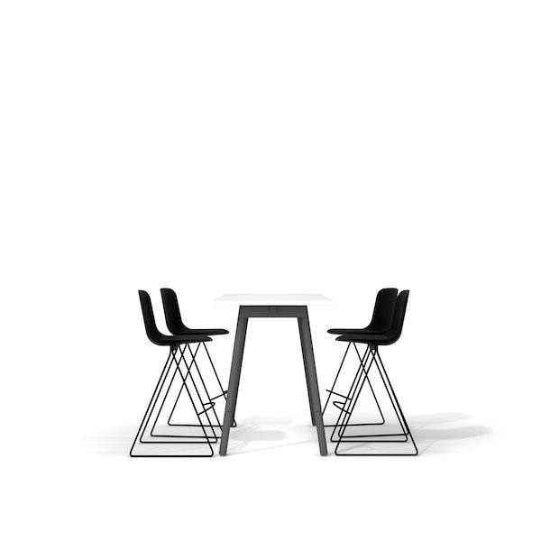 "White Series A Standing Table 57x27"", Charcoal Legs + Black Key Stools Set,Black,hi-res"