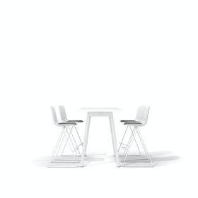 "White Series A Standing Table 57x27"", White Legs + White Key Stools Set"