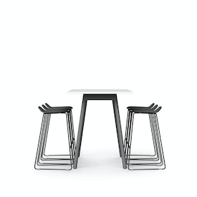 "White Series A Standing Table 72x30"", Charcoal Legs + Charcoal Upbeat Stools Set"