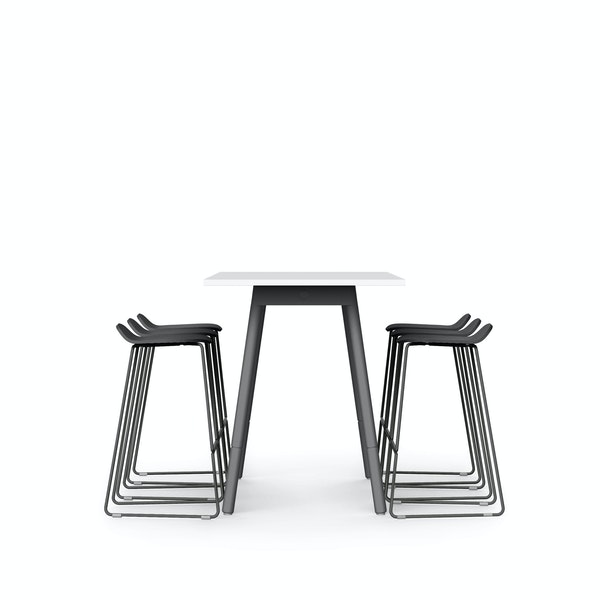 """White Series A Standing Table 72x30"""", Charcoal Legs + Charcoal Upbeat Stools Set,Charcoal,hi-res"""