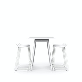 "White Series A Standing Table 72x30"", White Legs + White Upbeat Stools Set"