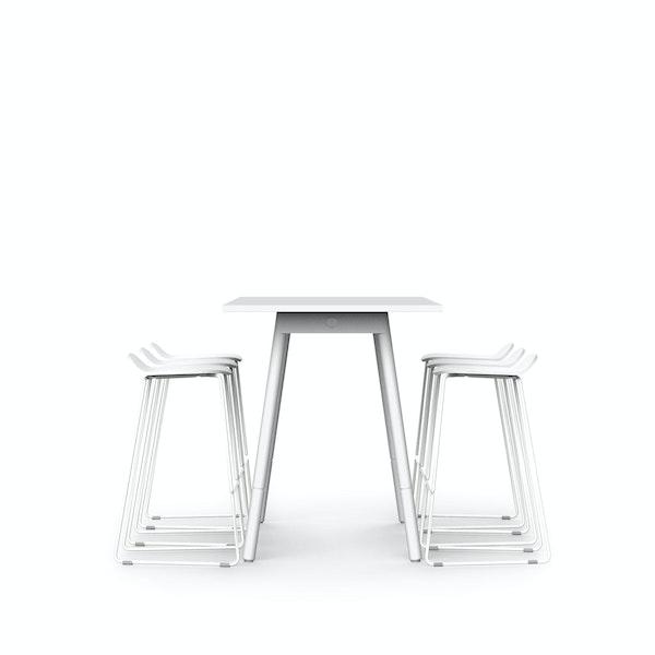 "White Series A Standing Table 72x30"", White Legs + White Upbeat Stools Set,White,hi-res"