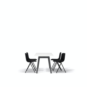 "White Series A Table 57x27"", Charcoal Legs + Black Key Side Chairs Set"