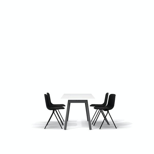 "White Series A Table 57x27"", Charcoal Legs + Black Key Side Chairs Set,Black,hi-res"