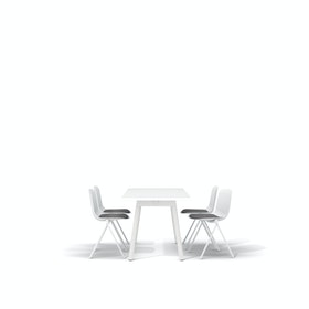 "White Series A Table 57x27"", White Legs + White Key Side Chairs Set"