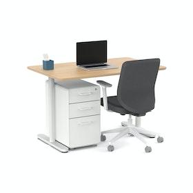 Raise Fixed Height Single Desk, White Legs