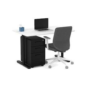 Raise Fixed Height Single Desk, Black Legs