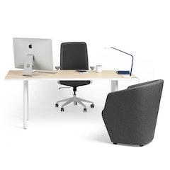 Series A Executive Desk Light Oak 72 X 36 White Legs