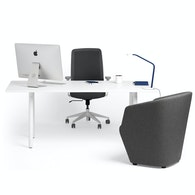 Series A Executive Desk, White Legs,White,hi-res
