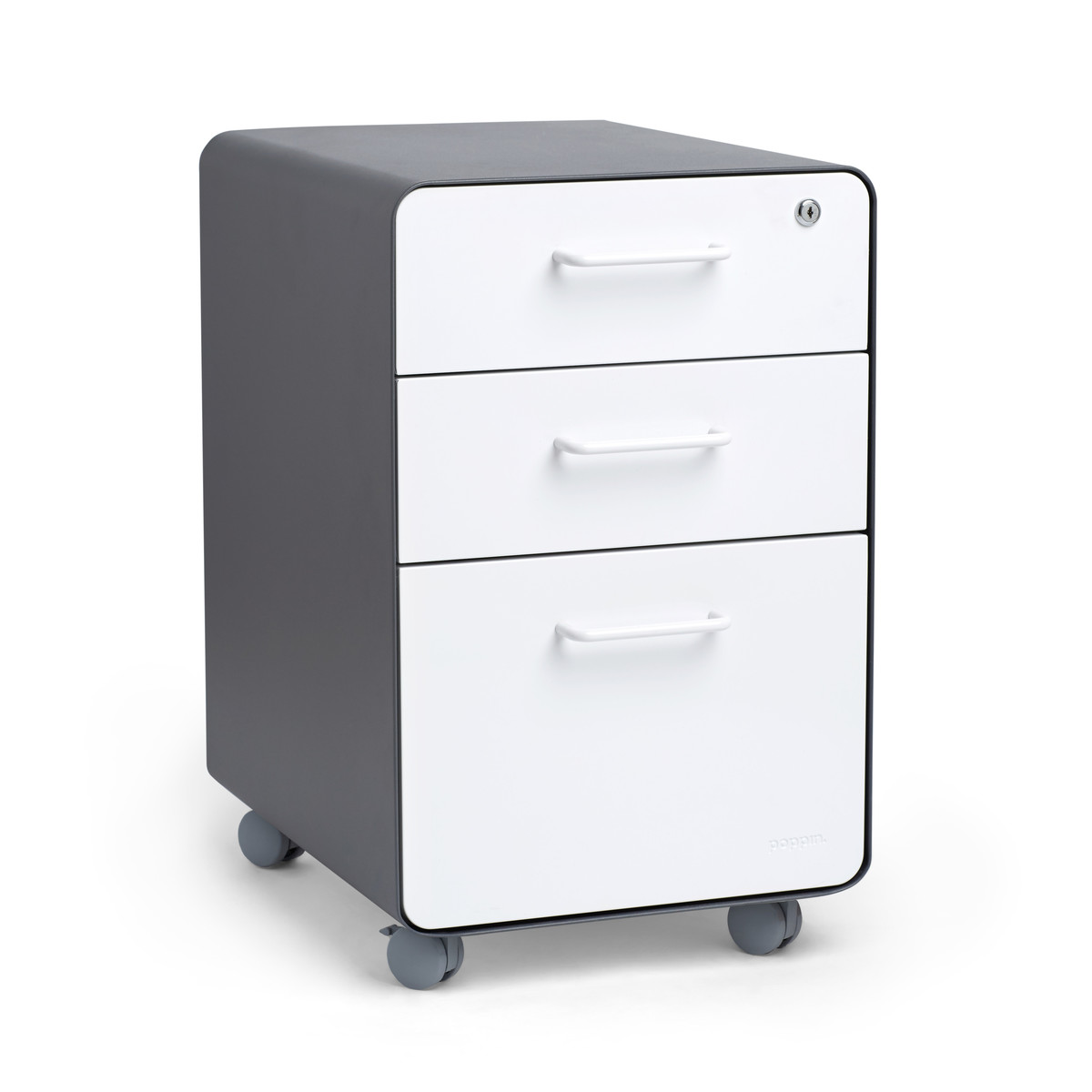 Charcoal White Stow 3 Drawer File Cabinet Rolling Poppin