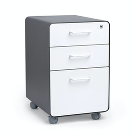 Charcoal + White Stow 3-Drawer File Cabinet, Rolling