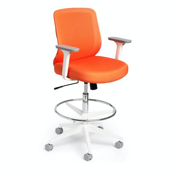Orange Max Drafting Chair, Mid Back, White Frame,Orange,hi-res