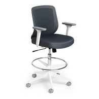 Dark Gray Max Drafting Chair, Mid Back, White Frame,Dark Gray,hi-res