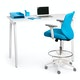 Pool Blue Max Drafting Chair, Mid Back, White Frame,Pool Blue,hi-res
