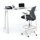Dark Gray Max Drafting Chair, Mid Back, White Frame,Dark Gray,hi-res
