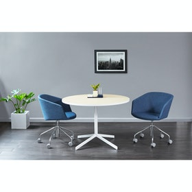 "White Touchpoint Meeting Table, 42"", Charcoal Legs"