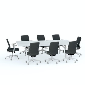 Ping-Pong Conference Table + 8 Mid Back Task Chairs, Dark Gray