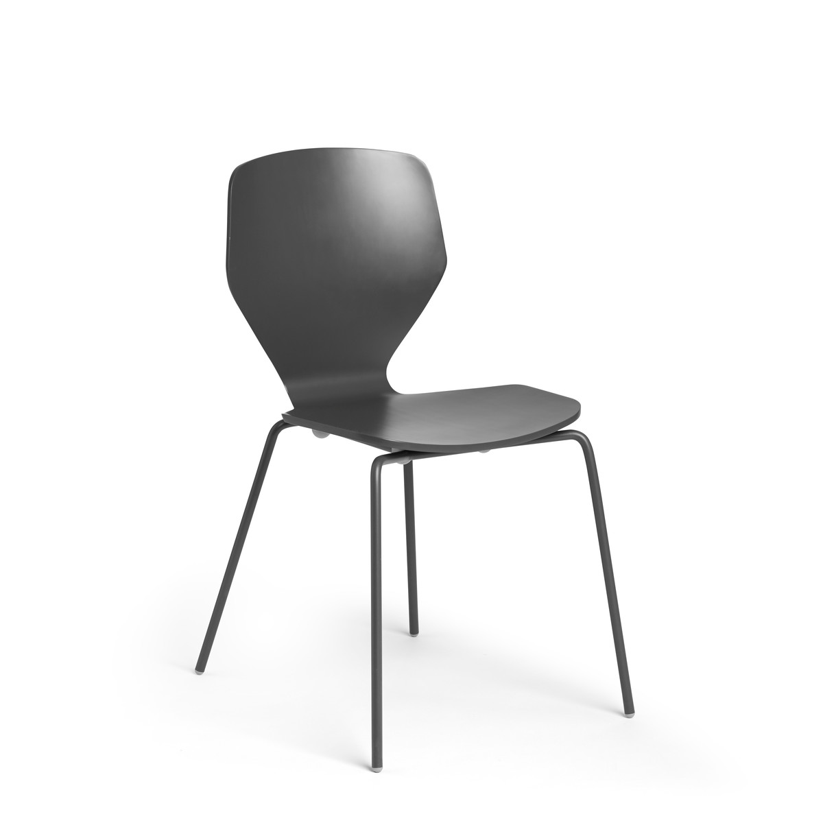 Charcoal Groove Stacking Side Chairs, Set Of 2,Charcoal,hi Res