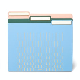 Assorted Pastels with Gold Print File Folders, Set of 6,,hi-res