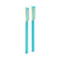 Aqua + Gold Tip-Top Rollerball Pens w/ Blue Ink, Set of 2,Aqua,hi-res