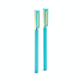 Aqua + Gold Tip-Top Rollerball Pens w/ Blue Ink, Set of 2