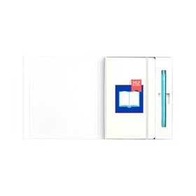 Custom White Soft Cover Gift Box Set, Aqua Retractable Gel Luxe Pen,White,hi-res