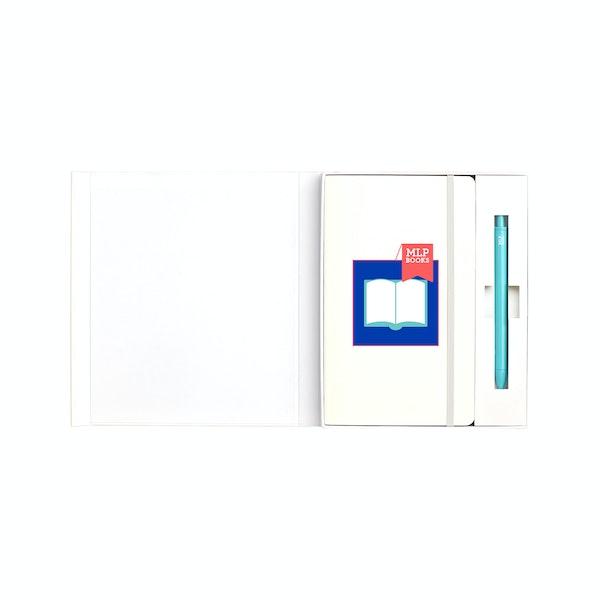 Custom White Hard Cover Gift Box Set, Aqua Retractable Gel Luxe Pen,White,hi-res