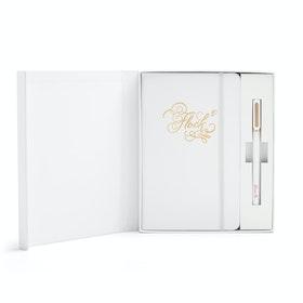 Custom White Hard Cover Gift Box Set, White Tip-Top Pen