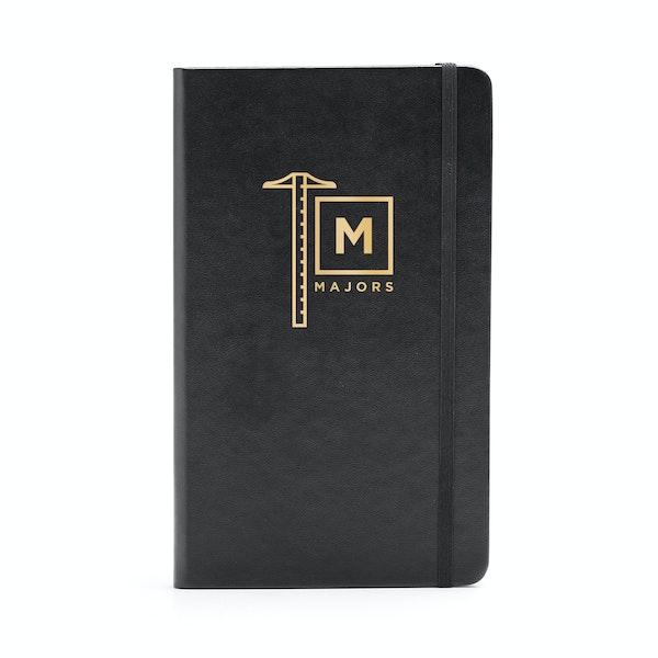 Custom Black Medium Hard Cover Notebook,Black,hi-res