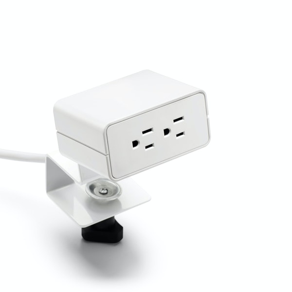 White Omni 2-Power Outlet with Desk Edge and Undersurface Mounting Bracket,,hi-res