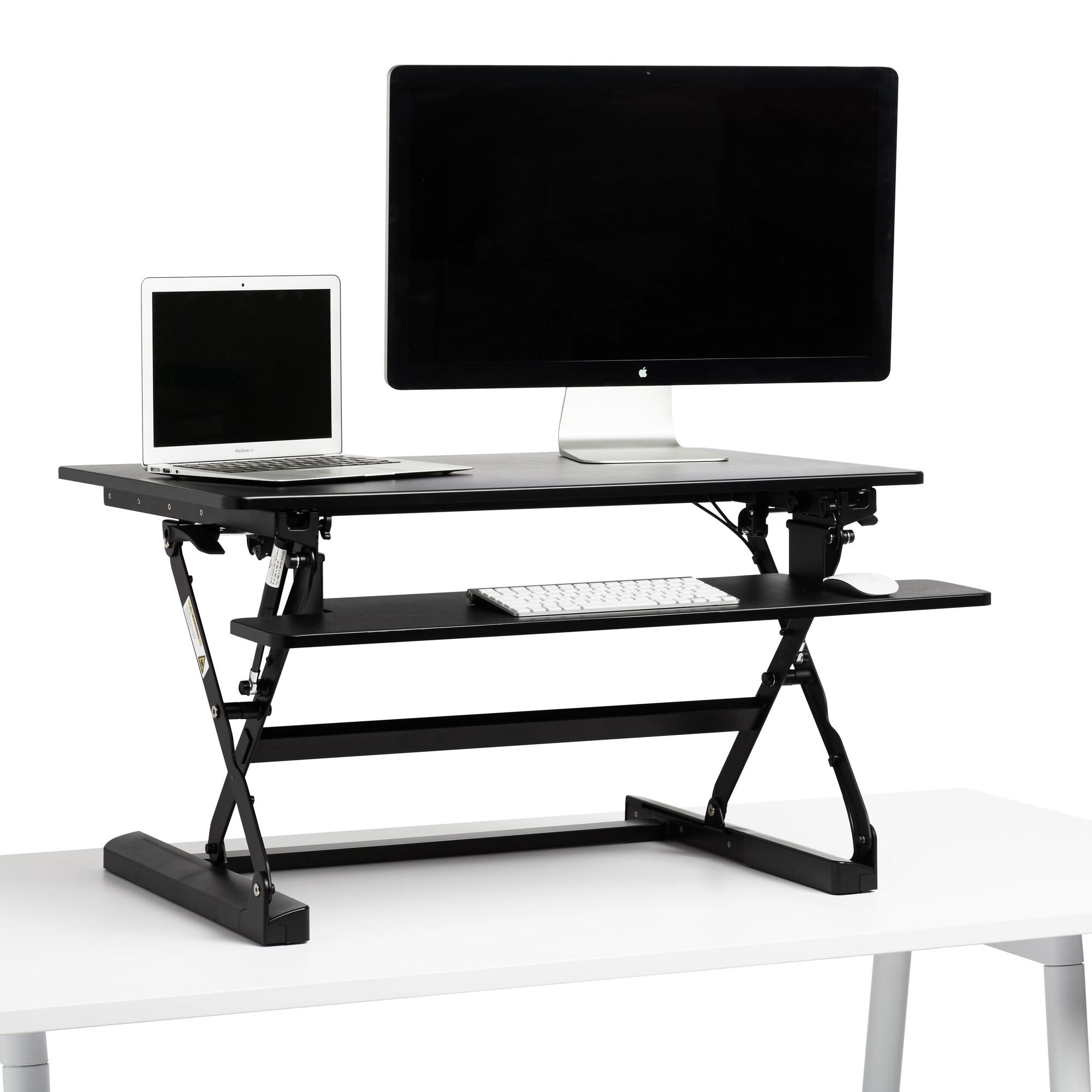 Black Medium Peak Adjustable Height Standing Desk Riser,Black,hi Res.  Loading Zoom