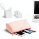 Blush + Light Gray Medium Accessory Pouch,Blush,hi-res