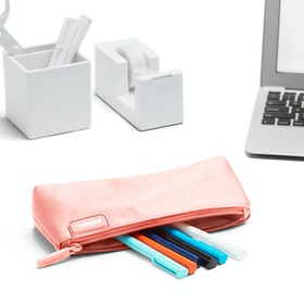 Blush + Light Gray Pencil Pouch,Blush,hi-res