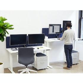 """Loft Adjustable Height Standing Single Desk, Light Oak, 57"""", White Legs,Light Oak,hi-res"""