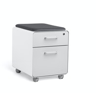 White + Light Gray Mini Stow 2-Drawer File Cabinet, Rolling,Light Gray,hi-res