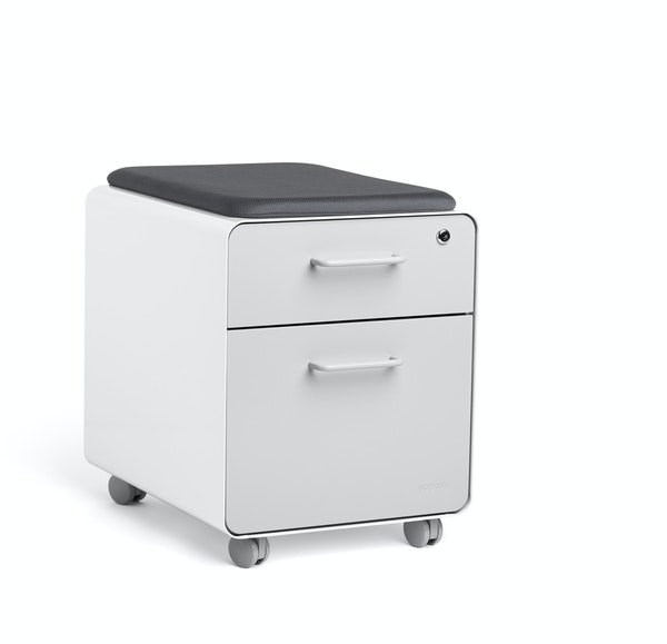 White + Light Gray Mini Stow 2-Drawer File Cabinet, Rolling,Light Gray,hi-res