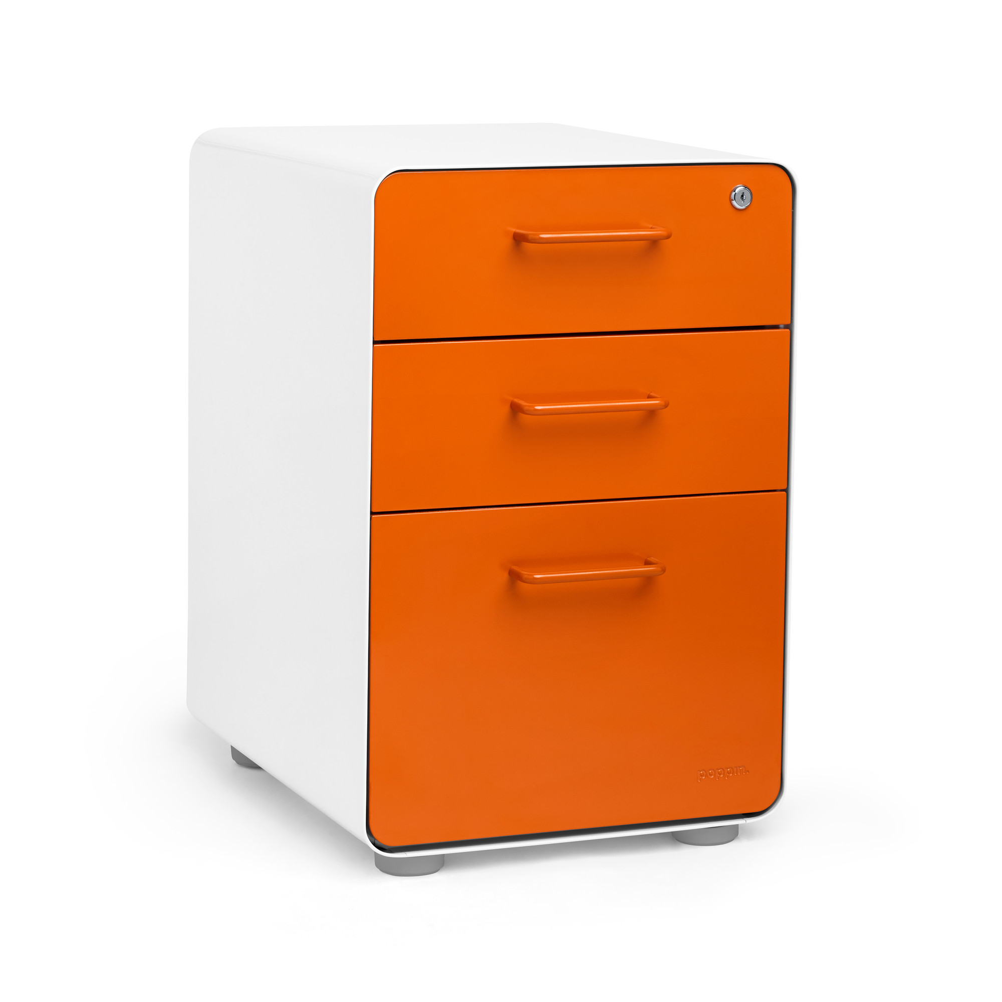 White Orange Stow 3 Drawer File Cabinet Hi Res