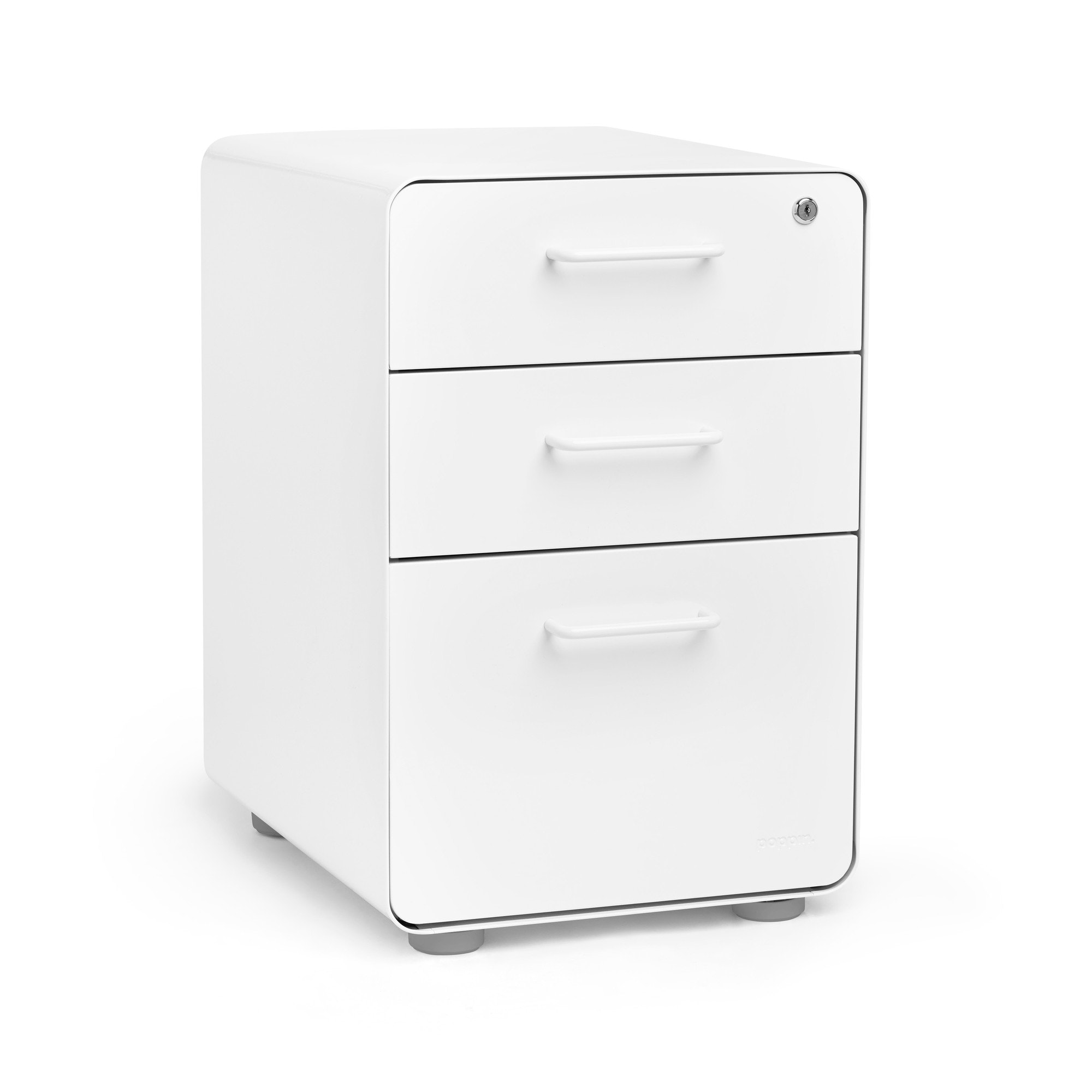Perfect White Stow 3 Drawer File Cabinet,White,hi Res